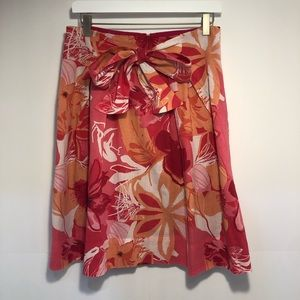 Zara women pink and orange skirt with bow